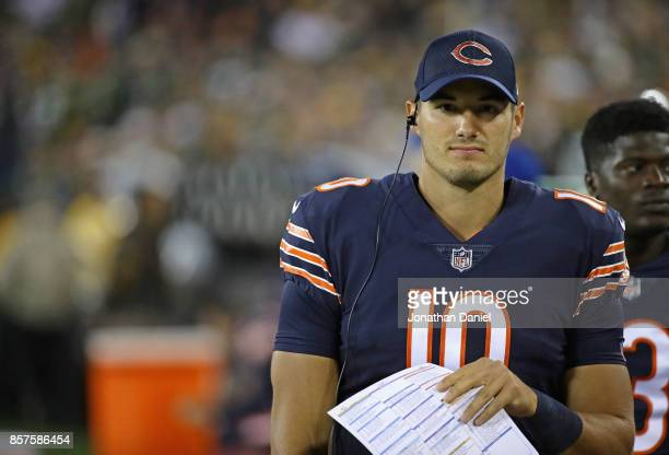 Mitchell Trubisky of the Chicago Bears is seen in the bench area during a game against the Green Bay Packers at Lambeau Field on September 28 2017 in...