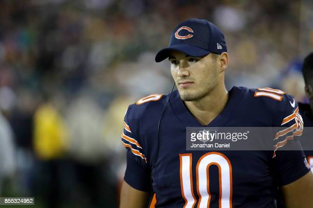 Mitchell Trubisky of the Chicago Bears looks on from the sideline in the second quarter against the Green Bay Packers at Lambeau Field on September...
