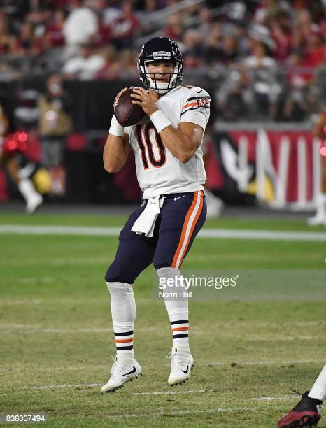 Mitchell Trubisky of the Chicago Bears looks to throw the ball against the Arizona Cardinals at University of Phoenix Stadium on August 19 2017 in...