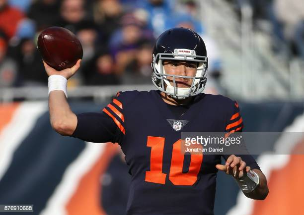 Mitchell Trubisky of the Chicago Bears passes against the Detroit Lions at Soldier Field on November 19 2017 in Chicago Illinois The Lions defeated...