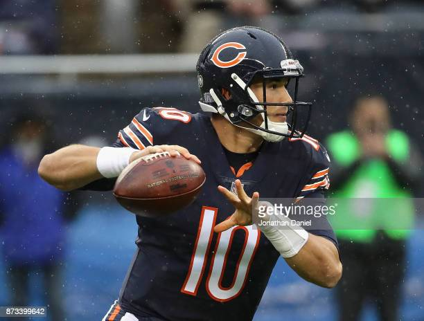 Mitchell Trubisky of the Chicago Bears passes against the Green Bay Packers at Soldier Field on November 12 2017 in Chicago Illinois The Packers...