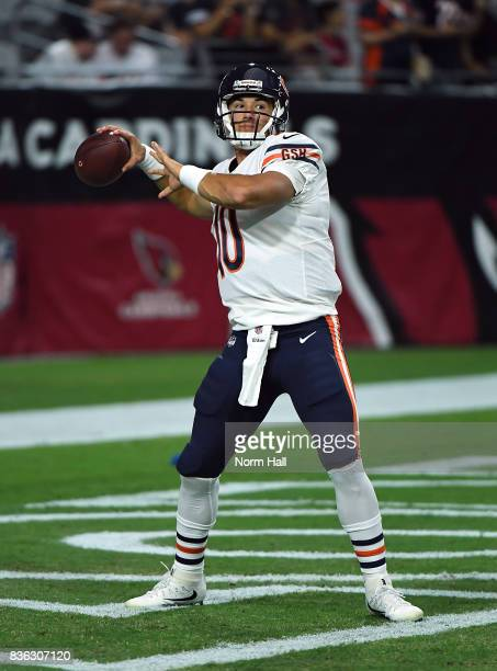 Mitchell Trubisky of the Chicago Bears prepares for a game against the Arizona Cardinals at University of Phoenix Stadium on August 19 2017 in...