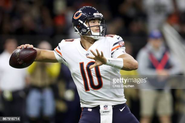 Mitchell Trubisky of the Chicago Bears throws Chicago Bears pass against the New Orleans Saints at the MercedesBenz Superdome on October 29 2017 in...