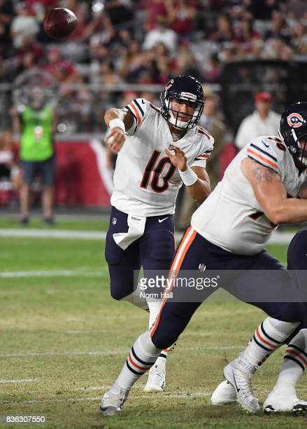 Mitchell Trubisky of the Chicago Bears throws the ball against the Arizona Cardinals at University of Phoenix Stadium on August 19 2017 in Glendale...