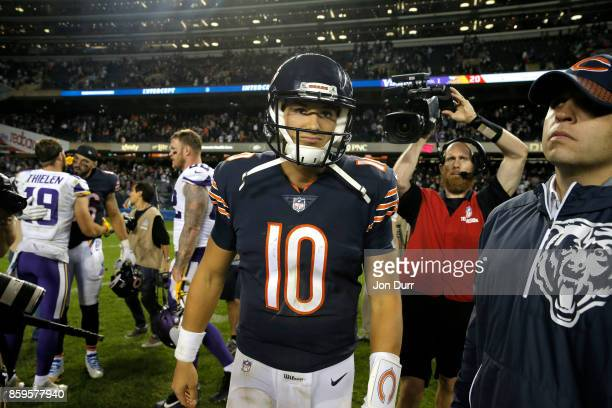 Mitchell Trubisky of the Chicago Bears walks off the field after losing to the Minnesota Vikings 2017 at Soldier Field on October 9 2017 in Chicago...