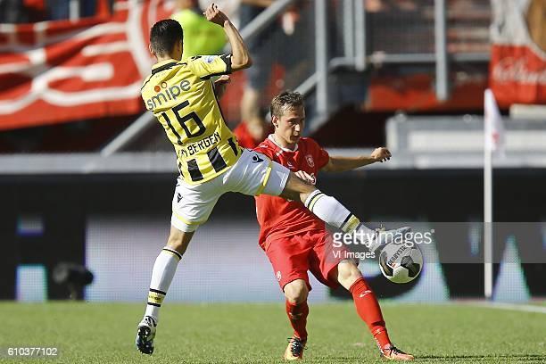 Mitchell van Bergen of Vitesse Arnhem Dejan Trajkovski of FC Twente during the Dutch Eredivisie match between FC Twente and Vitesse Arnhem at the...