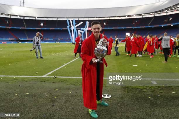 Mitchell van Bergen of Vitesse with the KNVB beker Dutch Cupduring the Dutch Cup Final match between AZ Alkmaar and Vitesse Arnhem on April 30 2017...