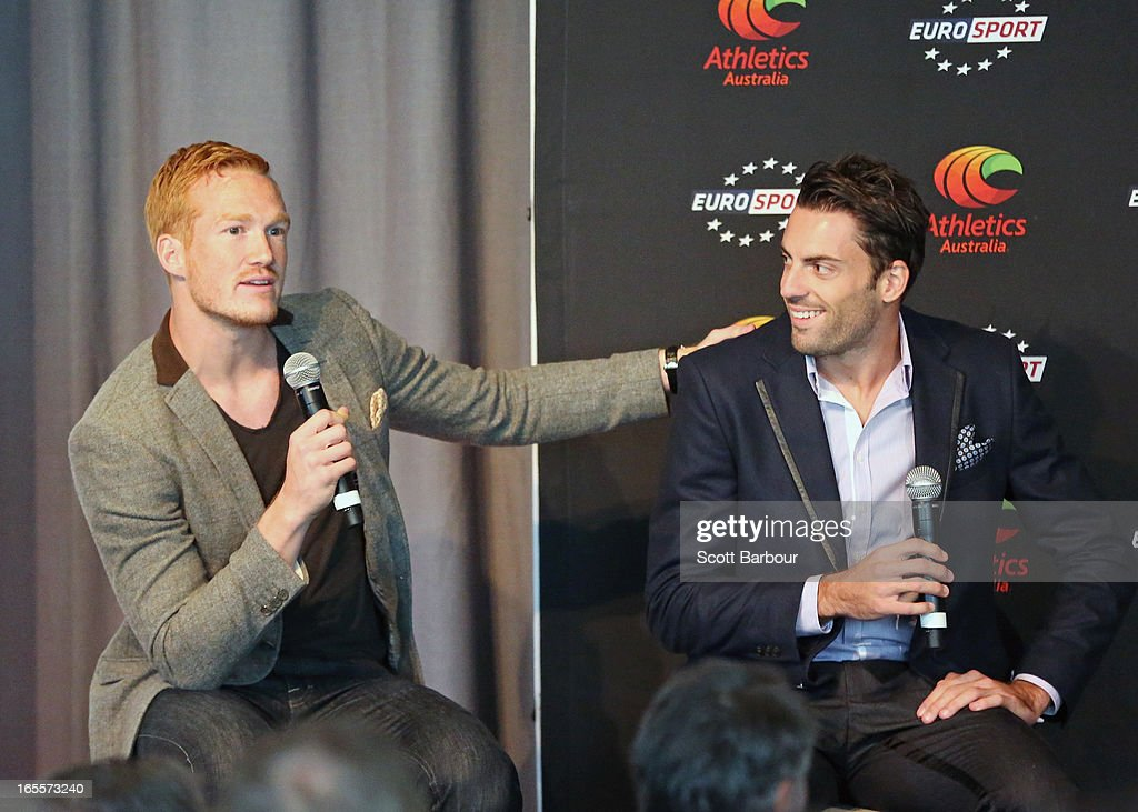 Mitchell Watt (R) of Australia and Greg Rutherford of Great Britain speak during the John Landy Lunch on April 5, 2013 in Melbourne, Australia. The athletes will all compete in the Qantas Melbourne World Challenge.