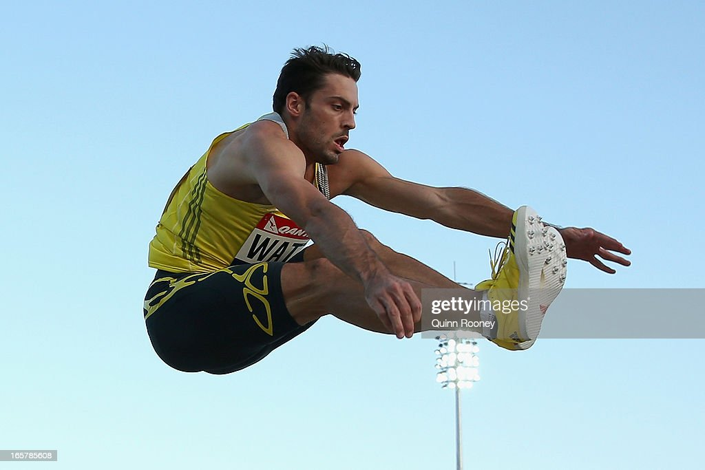 <a gi-track='captionPersonalityLinkClicked' href=/galleries/search?phrase=Mitchell+Watt&family=editorial&specificpeople=5770388 ng-click='$event.stopPropagation()'>Mitchell Watt</a> of Australia jumps in the Men's Long Jump during the 2013 Melbourne Track Classic at Olympic Park on April 6, 2013 in Melbourne, Australia.