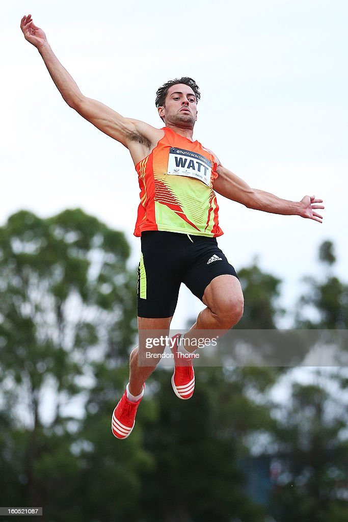 Mitchell Watt of QLD competes in the Men's Long Jump during the Hunter Track Classic on February 2, 2013 in Newcastle, Australia.