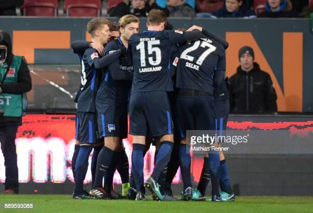 Mitchell Weiser Alexander Esswein Sebastian Langkamp and Davie Selke of Hertha BSC celebrate after scoring the 11 during the game between dem FC...