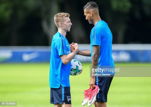 Mitchell Weiser and Davie Selke of Hertha BSC during the training on July 18 2017 in Berlin Germany