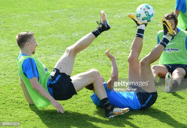 Mitchell Weiser and Genki Haraguchi of Hertha BSC during the training camp on august 3 2017 in Schladming Austria