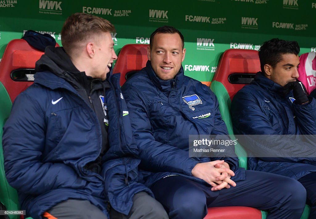 Mitchell Weiser and Julian Schieber of Hertha BSC chat before the game between FC Augsburg and Hertha BSC on november 19, 2016 in Augsburg, Germany.