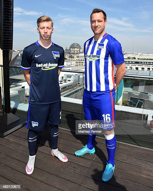 Mitchell Weiser and Julian Schieber of Hertha BSC pose during press conference of Hertha BSC on August 6 2015 in Berlin Germany