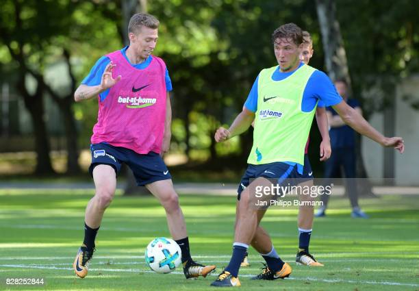 Mitchell Weiser and Niklas Stark of Hertha BSC during a training session on August 9 2017 in Berlin Germany