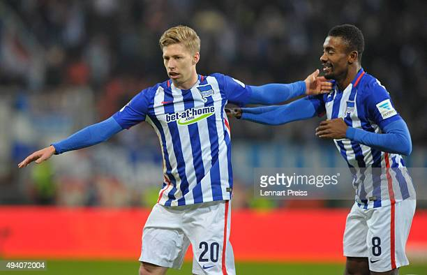 Mitchell Weiser and Salomon Kalou of Hertha BSC celebrate the opening goal during the Bundesliga match between FC Ingolstadt and Hertha BSC at Audi...
