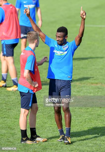 Mitchell Weiser and Salomon Kalou of Hertha BSC during the training camp on august 4 2017 in Schladming Austria