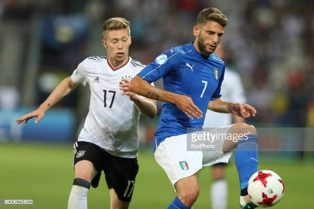 Mitchell Weiser Domenico Berardi during the UEFA U21 European Championship Group C football match Italy v Germany in Krakow Poland on June 24 2017