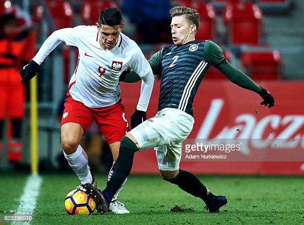 Mitchell Weiser from Germany fights for the ball with Mariusz Stepinski from Poland during the International Friendly soccer match between Poland U21...