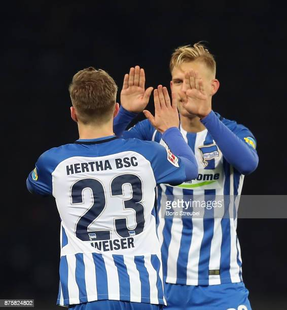 Mitchell Weiser of Berlin celebrates after he scored a goal to make it 23 with Arne Maier of Berlin during the Bundesliga match between Hertha BSC...