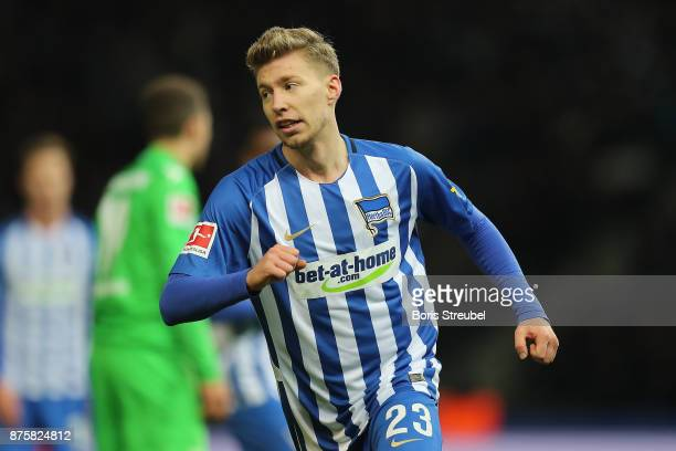 Mitchell Weiser of Berlin celebrates after he scored a goal to make it 23 during the Bundesliga match between Hertha BSC and Borussia...