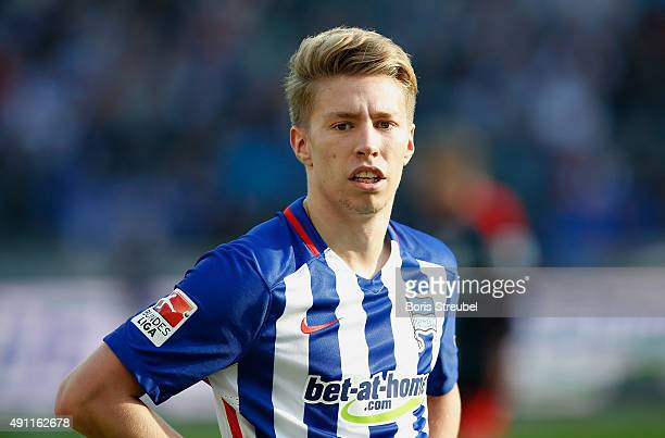 Mitchell Weiser of Berlin looks on during the Bundesliga match between Hertha BSC and Hamburger SV at Olympiastadion on October 3 2015 in Berlin...