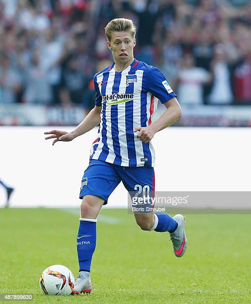 Mitchell Weiser of Berlin runs with the ball during the Bundesliga match between Hertha BSC and Vfb Stuttgart at Olympiastadion on September 12 2015...