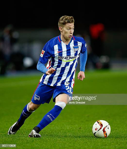 Mitchell Weiser of Berlin runs with the ball during the Bundesliga match between Hertha BSC and 1 FSV Mainz 05 at Olympiastadion on December 20 2015...
