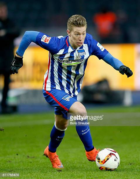 Mitchell Weiser of Berlin runs with the ball during the Bundesliga match between Hertha BSC and VfL Wolfsburg at Olympiastadion on February 20 2016...