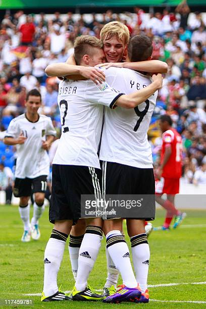Mitchell Weiser of Germany celebrates with teammates a scored goal against Panama during the FIFA U17 World Cup Mexico 2011Group E match between...
