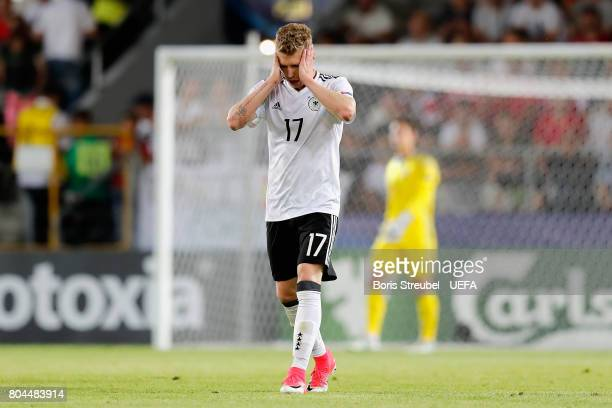 Mitchell Weiser of Germany reacts during the UEFA European Under21 Championship Final between Germany and Spain at Krakow Stadium on June 30 2017 in...