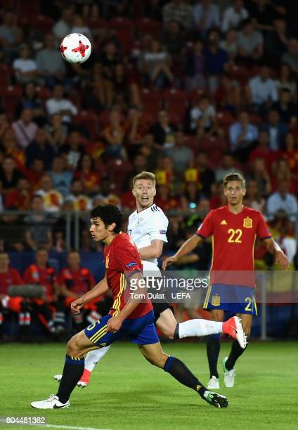 Mitchell Weiser of Germany scores his sides first goal during the UEFA European Under21 Championship Final between Germany and Spain at Krakow...