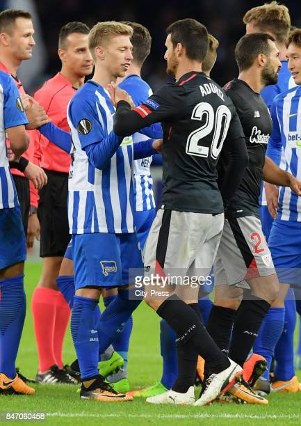 Mitchell Weiser of Hertha BSC and Aritz Aduriz of Athletic Bilbao after the game between Hertha BSC and Athletic Bilbao on september 14 2017 in...