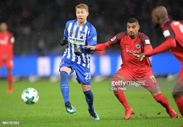 Mitchell Weiser of Hertha BSC and KevinPrince Boateng of Eintracht Frankfurt during the game between Hertha BSC and the Eintracht Frankfurt on...