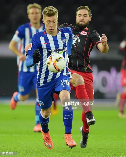 Mitchell Weiser of Hertha BSC and Marc Stendera of Eintracht Frankfurt during the game between Hertha BSC and Eintracht Frankfurt on march 2 2016 in...