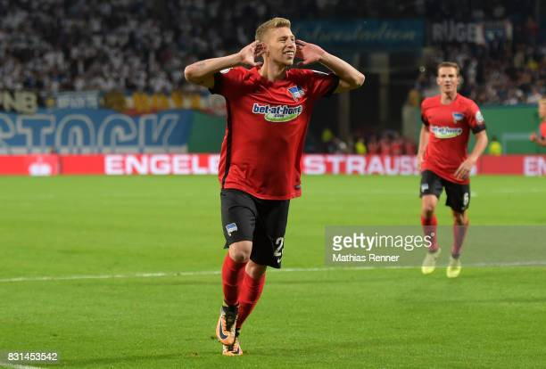 Mitchell Weiser of Hertha BSC celebrates after scoring the 01 during the game between FC Hansa Rostock and Hertha BSC on August 14 2017 in Rostock...