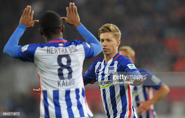 Mitchell Weiser of Hertha BSC celebrates the opening goal during the Bundesliga match between FC Ingolstadt and Hertha BSC at Audi Sportpark on...
