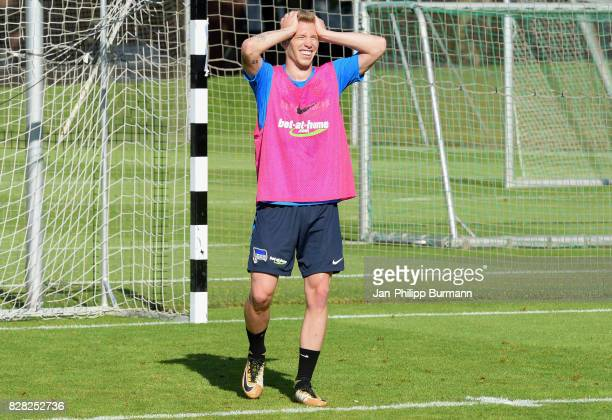 Mitchell Weiser of Hertha BSC during a training session on August 9 2017 in Berlin Germany