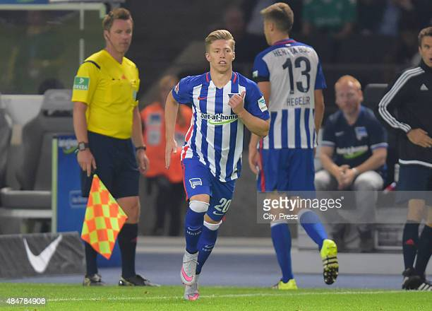 Mitchell Weiser of Hertha BSC gets substituted during the game between Hertha BSC and Werder Bremen on August 21 2015 in Berlin Germany