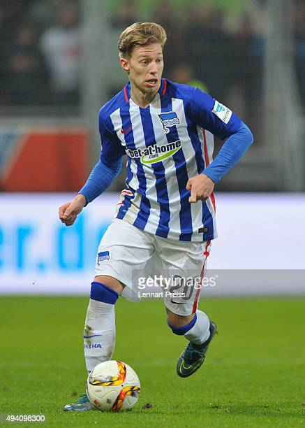 Mitchell Weiser of Hertha BSC reacts during the Bundesliga match between FC Ingolstadt and Hertha BSC at Audi Sportpark on October 24 2015 in...