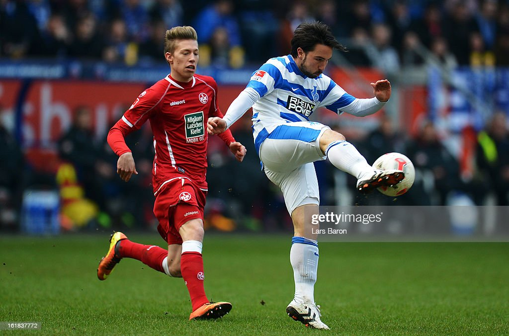 Mitchell Weiser of Kaiserslautern challenges Benjamin Kern of Duisburg during the Second Bundesliga match between MSV Duisburg and 1. FC Kaiserslautern at Schauinsland-Reisen-Arena on February 17, 2013 in Duisburg, Germany.