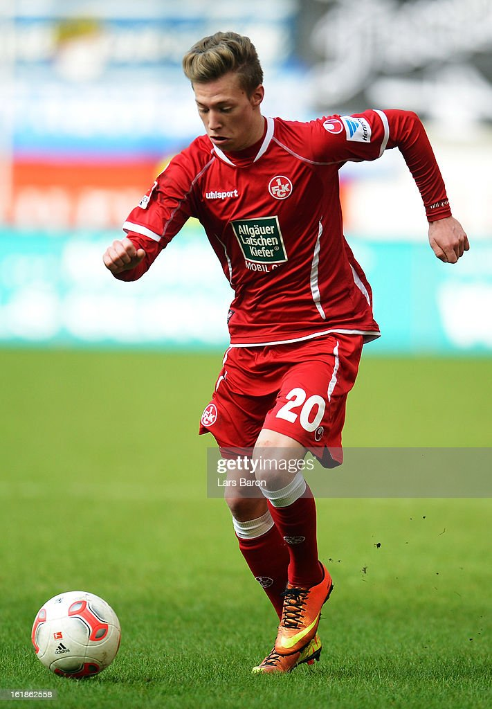 Mitchell Weiser of Kaiserslautern runs with the ball during the Second Bundesliga match between MSV Duisburg and 1. FC Kaiserslautern at Schauinsland-Reisen-Arena on February 17, 2013 in Duisburg, Germany.