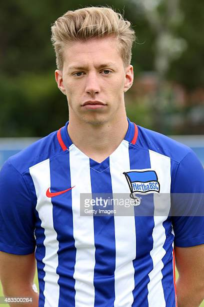 Mitchell Weiser poses during the Hertha BSC team presentation on July 10 2015 in Berlin Germany