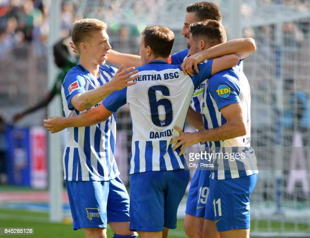 Mitchell Weiser Vladimir Darida Vedad Ibisevic and Mathew Leckie of Hertha BSC celebrate after scoring the 10 during the game between Hertha BSC and...