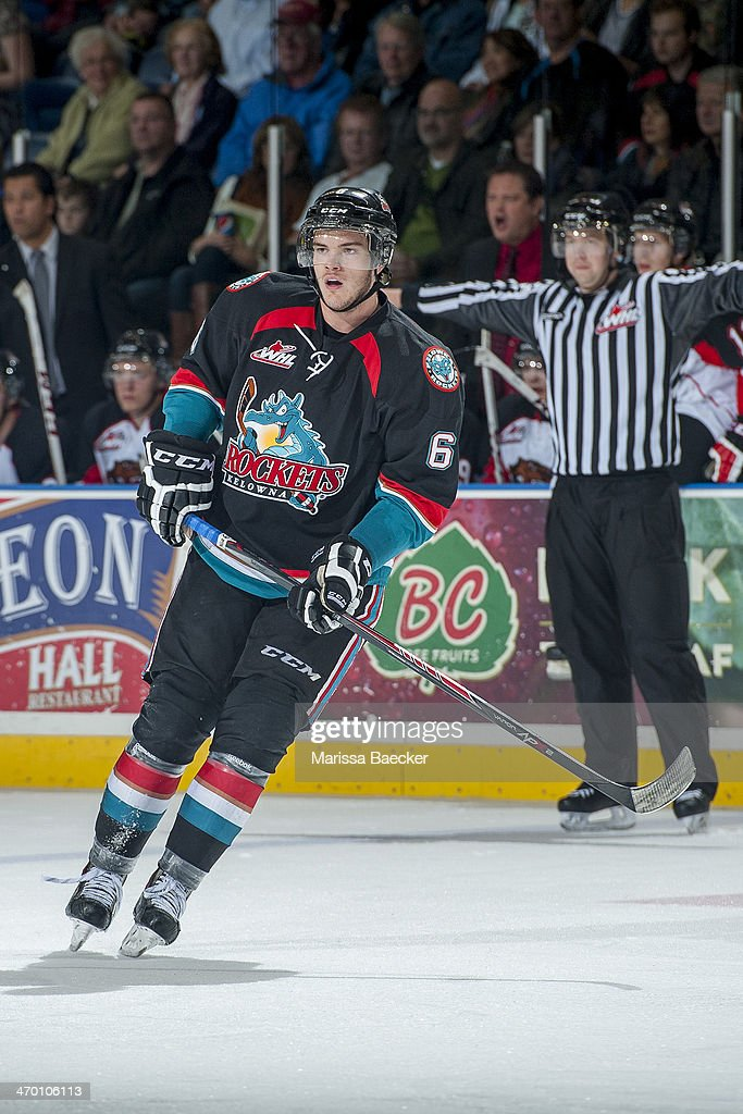 <a gi-track='captionPersonalityLinkClicked' href=/galleries/search?phrase=Mitchell+Wheaton&family=editorial&specificpeople=9852035 ng-click='$event.stopPropagation()'>Mitchell Wheaton</a> #6 of the Kelowna Rockets skates against the Prince George Cougars on October 19, 2013 at Prospera Place in Kelowna, British Columbia, Canada.