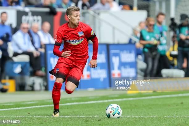 MitchellElijah Weiser of Berlin controls the ball during the Bundesliga match between TSG 1899 Hoffenheim and Hertha BSC at Wirsol RheinNeckarArena...