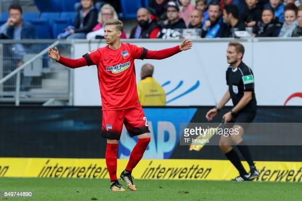 MitchellElijah Weiser of Berlin gestures during the Bundesliga match between TSG 1899 Hoffenheim and Hertha BSC at Wirsol RheinNeckarArena on...
