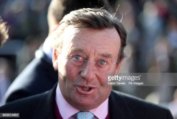 Mite Bite trainer Nicky Henderson in the parade ring after the RSA Novices' Chase during Ladies Day of the 2017 Cheltenham Festival at Cheltenham...