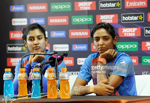 Mithali Raj Captain of India and Harmanpreet Kaur of India address a press conference after the Women's ICC World Twenty20 India 2016 match between...